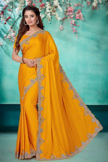 Picture of Classy Mustard Yellow Color Satin Saree