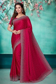 Picture of Skillful Pink Color Satin Saree