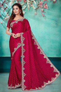 Picture of Skillful Pink Color Satin Saree with stone work