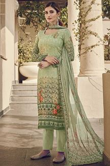 Picture of Mature Green Designer Suit With Digital Print (Unstitched suit)