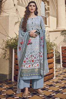 Picture of Trendy Sky Blue Colored Partywear Printed  Suit (Unstitched suit)