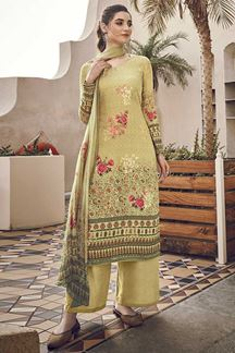 Picture of Pleasance Gold Colored Silk Printed Suit (Unstitched suit)