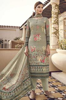 Picture of Refreshing Green Colored Silk Printed Suit (Unstitched suit)