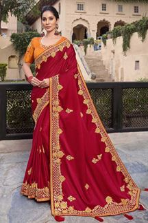 Picture of Red Colored Embroidered Satin Silk Designer Saree