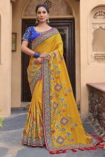 Picture of Yellow Colored Embroidered Satin Silk Designer Saree