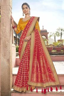 Picture of Embroidered Red Colored Cotton Silk Designer Saree