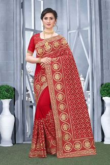 Picture of Red Colored Vichitra Blooming Silk