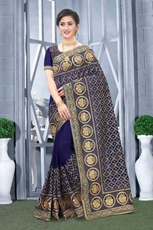 Picture of Navy blue Colored Vichitra Blooming Silk