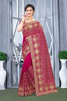 Picture of Rani Pink Colored Vichitra Blooming Silk