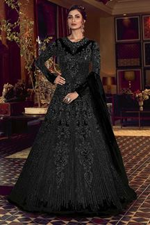 Picture of Black Colored Partywear Embroidered Net Anarkali Suit (Unstitched suit)
