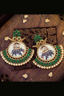 Picture of Trendy Green Colored Designer Hand painted Dangler Earrings