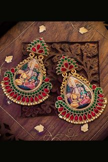 Picture of Trendy Red & Green Colored Designer Hand painted Dangler Earrings