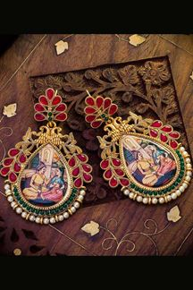 Picture of Green & Red Colored Designer Hand painted Dangler Earrings