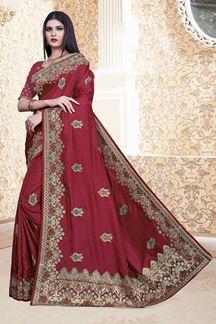 Picture of Coffee Colored Nebulla Silk Partwear Saree