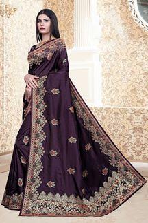 Picture of Wine Colored Nebulla Silk Partwear Saree