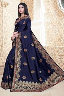 Picture of Navy Blue Colored Nebulla Silk Partwear Saree