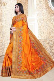 Picture of Mustard Colored Vichitra Silk Partwear Saree
