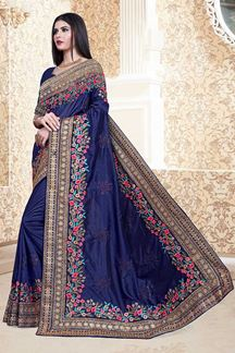 Picture of Gorgeous Navy Blue Colored Vichitra Silk Partwear Saree