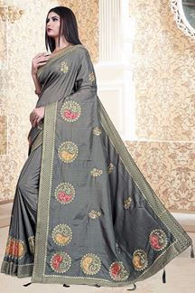 Picture of Grey Colored Nebulla Silk Partwear Saree