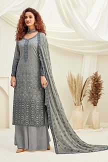 Picture of Grey Colored Designer Pure Viscose Chinon Chiffon Palazzo Suit (Unstitched suit)
