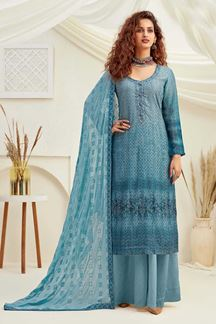 Picture of Blue Colored Designer Pure Viscose Chinon Chiffon Palazzo Suit (Unstitched suit)