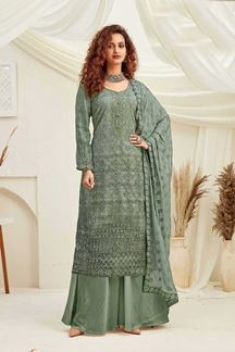 Picture of Sea Green Colored Designer Pure Viscose Chinon Chiffon Palazzo Suit (Unstitched suit)