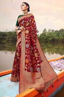 Picture of Maroon & Green Colored Latest Designer Classic Wear Silk Saree
