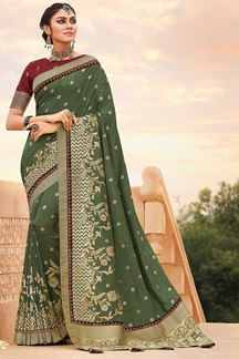 Picture of Sea Green & Maroon Colored Latest Designer Classic Wear Silk Saree