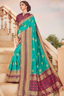 Picture of Aqua green & Multi Colored Latest Designer Classic Wear Silk Saree