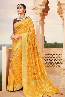 Picture of Latest Designer Mustard & Maroon Colored Classic Wear Silk Saree