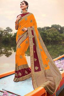 Picture of Latest Designer Classic Mustard & Maroon  Colored Wear Silk Saree