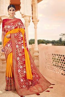 Picture of Yellow & Red Colored Latest Designer Classic Wear Silk Saree