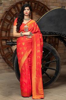 Picture of Red Colored Latest Designer Party Wear Maharani Silk Saree