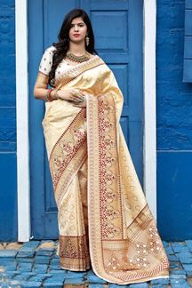 Picture of Gold Colored Latest Designer Party Wear Maharani Silk Saree