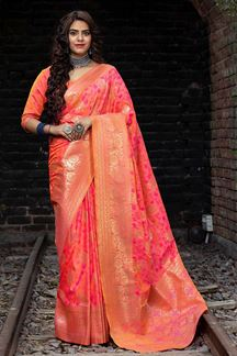 Picture of Two Tone Pink Colored Latest Designer Party Wear Maharani Silk Saree
