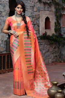Picture of Latest Designer Two Tone Pink Colored  Party Wear Maharani Silk Saree