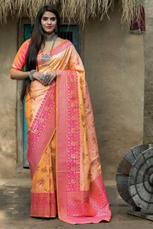 Picture of Pink Colored Latest Designer Party Wear Maharani Silk Saree