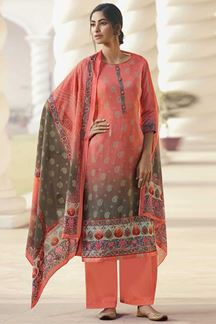 Picture of Peach Colored Elegant Contrast Floral Digital Print Suit (Unstitched suit)