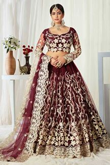 Picture of Maroon Colored Heavy Designer Wedding Wear Net Lehenga Choli (Unstitched)