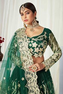 Picture of Green Colored Heavy Designer Wedding Wear Net Lehenga Choli (Unstitched)