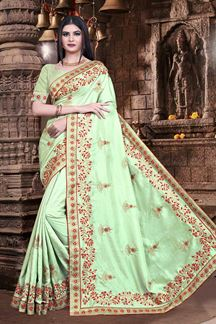 Picture of Pista Green Colored Crekel Silk Saree