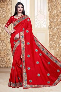 Picture of Red Colored Vichitra Silk Designer Saree