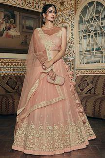 Picture of Wedding Designer Embroidery Peach Lehenga Choli