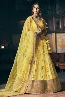 Picture of Wedding Designer Embroidery Yellow Lahengha Choli