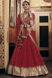 Picture of Wedding Designer Embroidery Red Lahengha Choli
