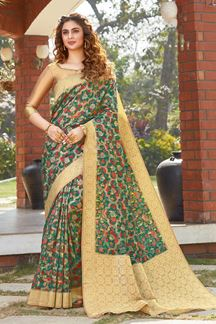 Picture of Green Colored Printed Designer Party Wear Silk Saree