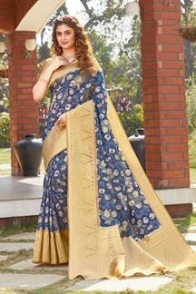 Picture of Blue Colored Printed Designer Party Wear Silk Saree