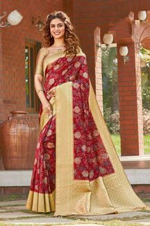 Picture of Red Colored Printed Designer Party Wear Silk Saree