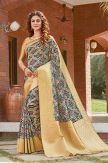 Picture of Printed Designer Blue Colored  Party Wear Silk Saree