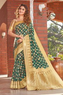 Picture of Printed Designer Green Colored Party Wear Silk Saree